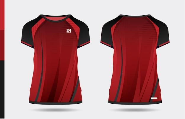 Sport elegante rosso nero t-shirt e abbigliamento design alla moda sagome, tipografia, stampa, illustrazione vettoriale. vista anteriore e posteriore. illustrazione di vettore eps 10.