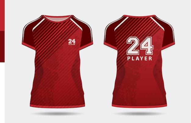 Sport elegante maglietta rossa e abbigliamento design alla moda sagome tipografia stampa vettoriale