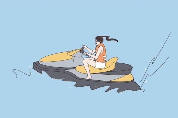 Concetto di attività sportive estive per il tempo libero. giovane donna allegra felice seduta e in sella a una moto d'acqua sull'acqua durante le vacanze sentendosi positiva illustrazione vettoriale