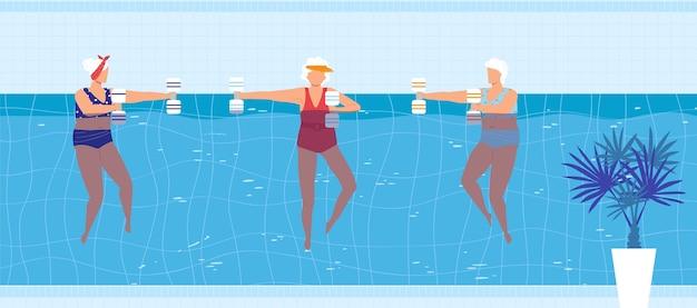 Attività di nuotata sportiva nell'illustrazione della piscina.