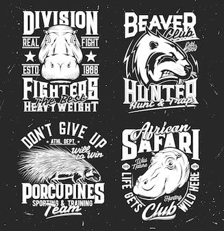 Squadra sportiva e mascotte del club di caccia. schizzo inciso muso di ippopotamo, castoro e istrice.