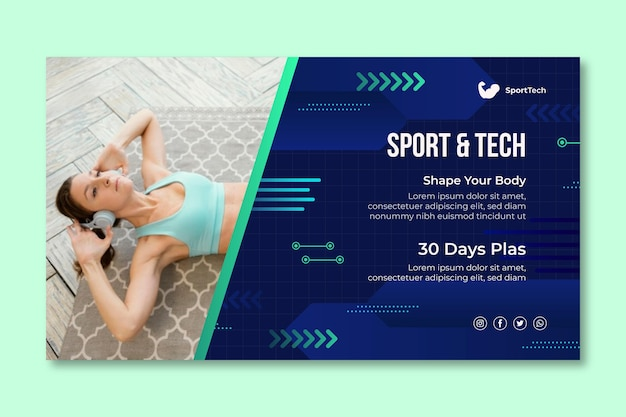 Modello di banner sportivo e tecnologico