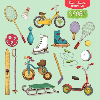 Illustrazione di set di giocattoli sportivi: pattinaggio, bicicletta con palline da sci e tennis