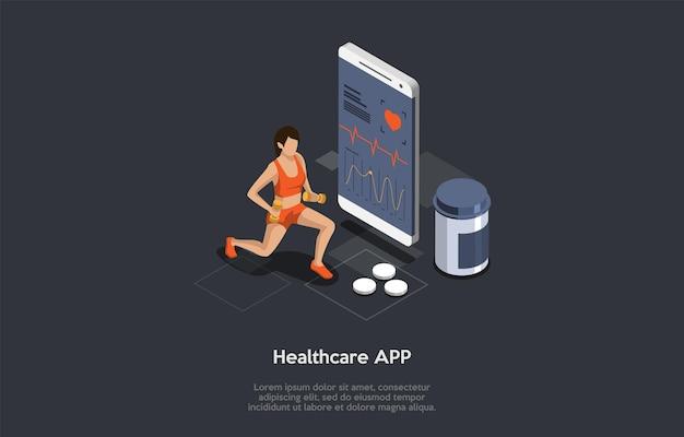 Corsi di formazione sportiva, esercizi con peso, concetto di assistenza sanitaria. forte giovane donna che si esercita con i manubri utilizzando l'applicazione sanitaria per tenere traccia del suo battito cardiaco