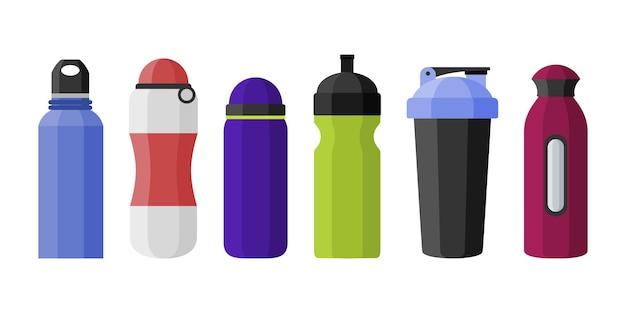 Illustrazione di varie forme di bottiglie di acqua di sport