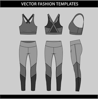 Modello di schizzo piatto moda abbigliamento sportivo, fitness in forma vista anteriore e posteriore