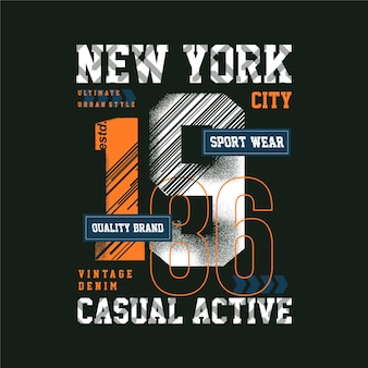 Sport wear new york abstract graphic tipografia casual active design illustration