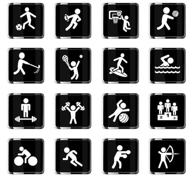 Icone web sportive per il design dell'interfaccia utente