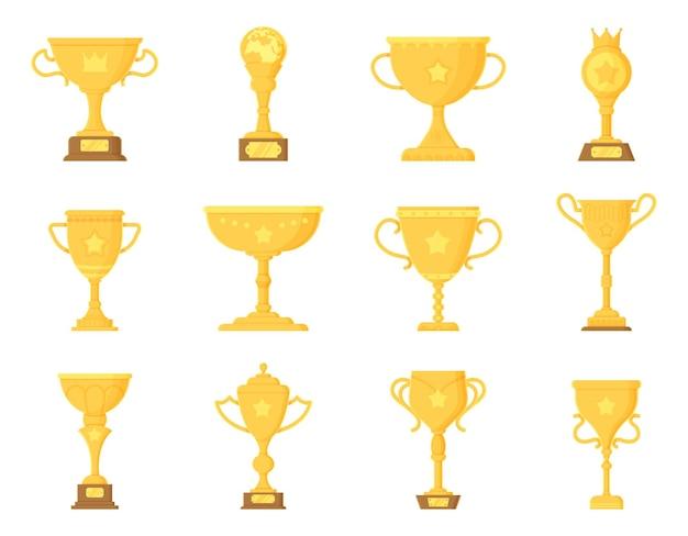 Insieme di elementi del trofeo vincitore di sport