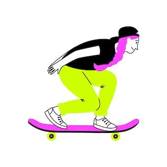 Ragazza sportiva su skateboard. cartone animato femmina su cool longboard, gambe di allenamento per trucchi sportivi, illustrazione vettoriale attività di intrattenimento per adolescenti all'aperto isolato su sfondo bianco