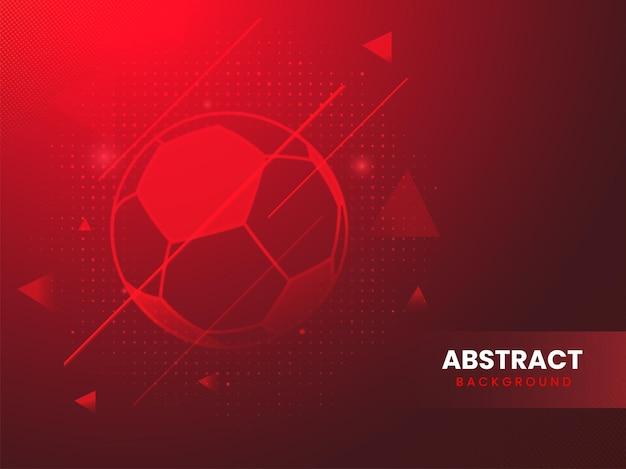 Fondo rosso astratto di sport con il calcio.
