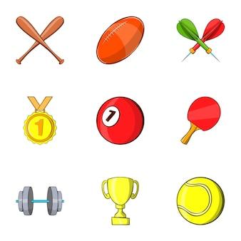 Set di accessori sportivi, stile cartoon