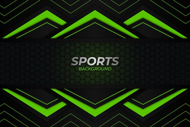 Sfondo di sport in stile scuro e verde
