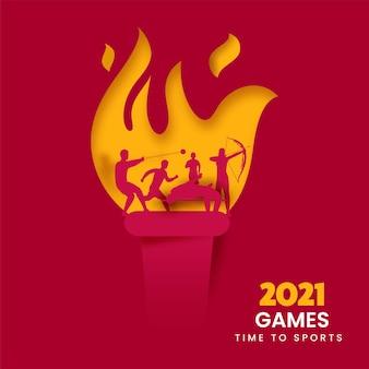 Sfondo sportivo con carta tagliata torcia ardente e silhouette diversi atletica leggera in posa d'azione per i giochi 2021.