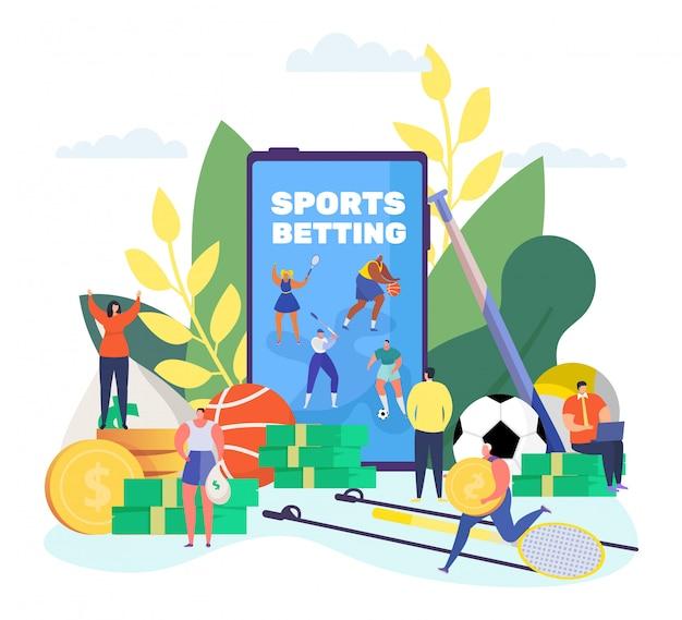 Scommesse sportive online, piccoli personaggi dei cartoni animati scommettono la competizione sportiva di calcio usando l'app per smartphone su bianco