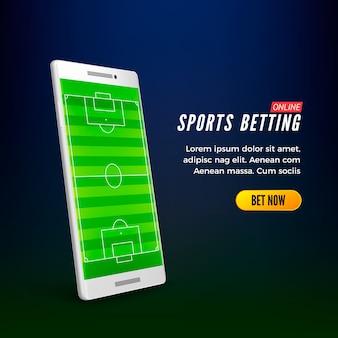 Modello di banner web online di scommesse sportive. smartphone con campo di calcio sullo schermo.