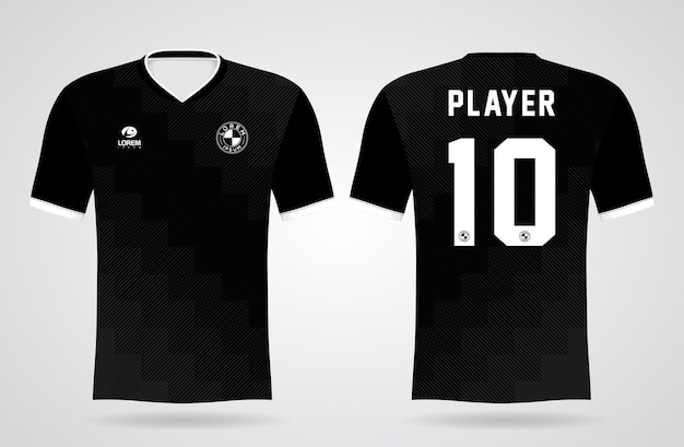 Modello sportivo in jersey nero per uniformi della squadra e design della maglietta da calcio