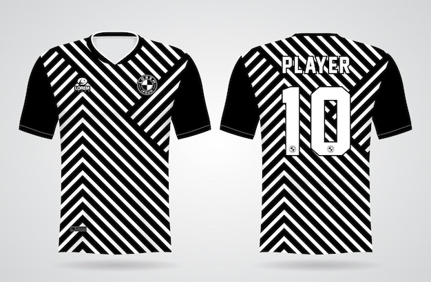 Modello di jersey zebra in bianco e nero sportivo per uniformi della squadra e design di magliette da calcio