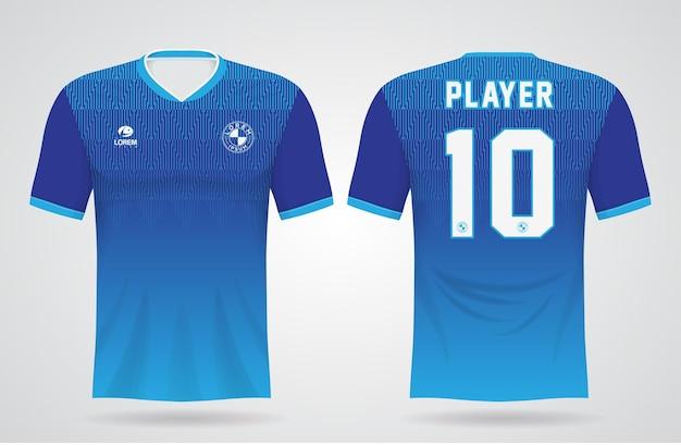 Modello di jersey blu sportivo per uniformi della squadra e design della maglietta da calcio