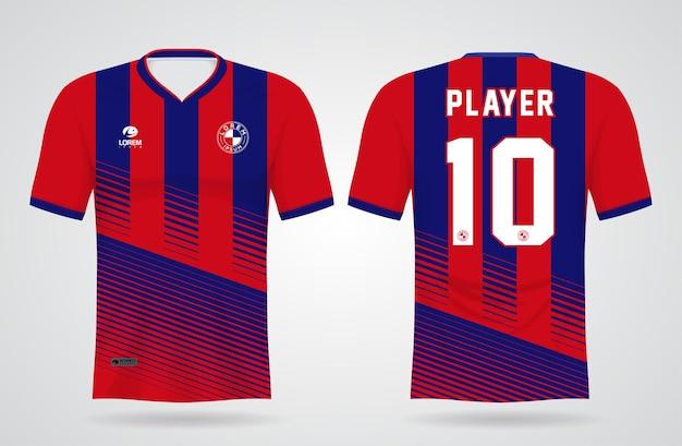 Modello di maglia sportiva blu e rossa per le divise della squadra e il design della maglietta da calcio