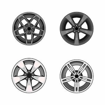 Set di cerchi per auto sportive vettore
