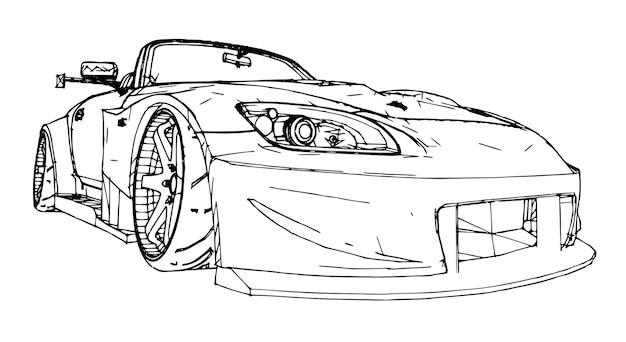 Auto sportiva. illustrazione di riserva nello stile di grafica lineare disegnata a mano.