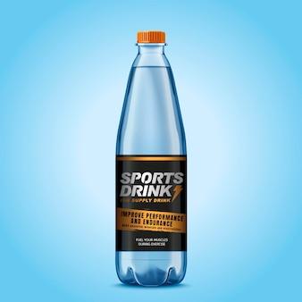 Bottiglia di bevanda sportiva con etichetta isolata sulla superficie blu in stile 3d