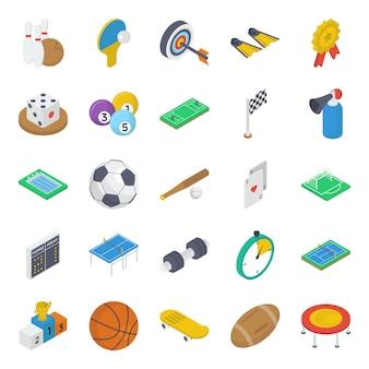 Pack di icone isometriche di attrezzature sportive