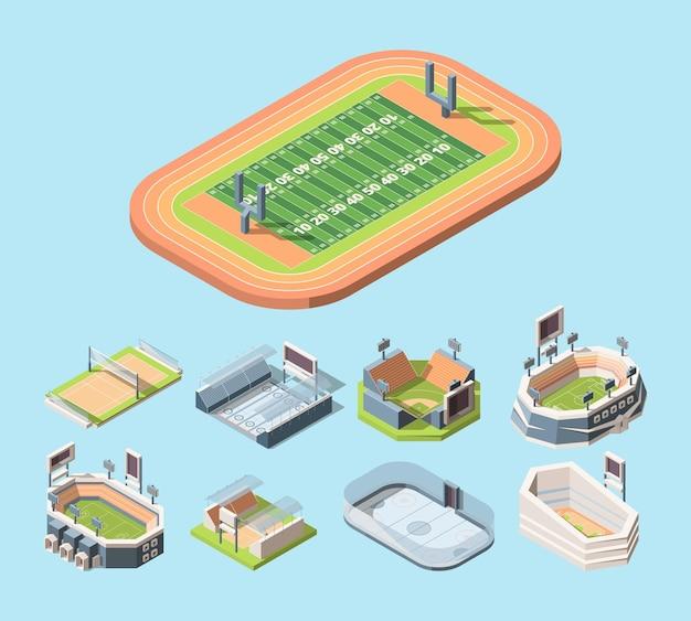 Campi sportivi e stadi vettoriali illustrazioni isometriche impostate.