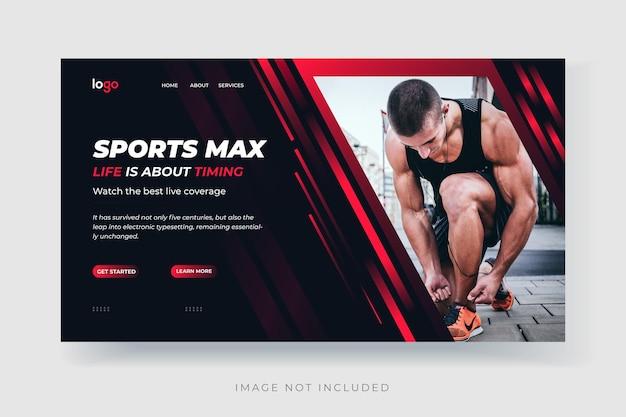 Modello di pagina di destinazione per il fitness sportivo vettore premium