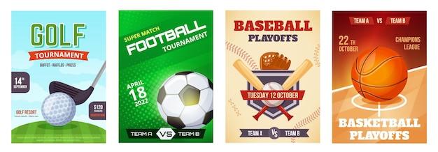 Manifesto dell'annuncio del torneo di basket del gioco sportivo volantino dell'annuncio del baseball del calcio del golf