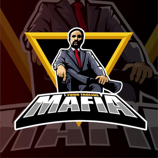 Sport gaming logo stile cowboy mafioso