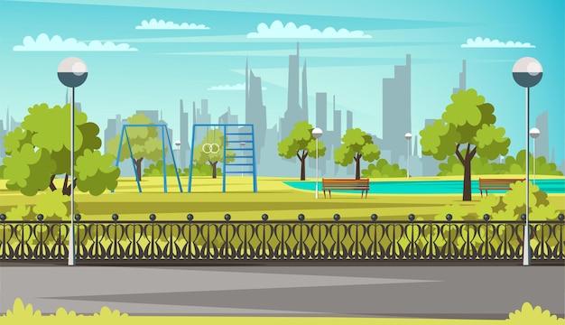 Campo sportivo nel parco area verde con lanterne sulle panchine del lago con sfondo del paesaggio urbano