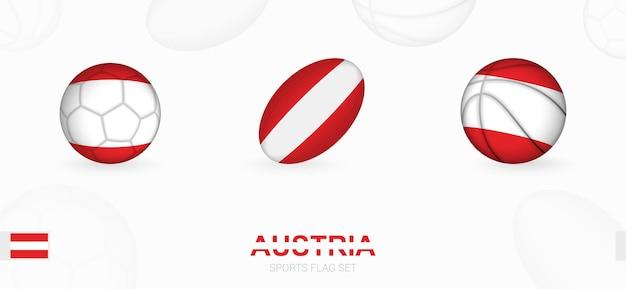 Icone sportive per calcio, rugby e basket con la bandiera dell'austria.