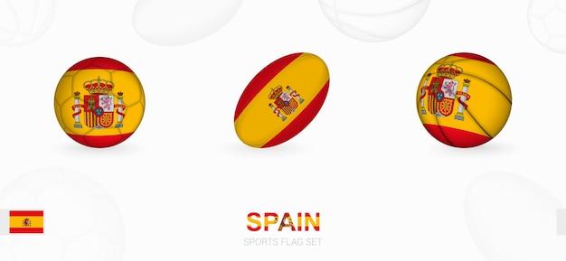 Icone sportive per calcio, rugby e basket con la bandiera della spagna.