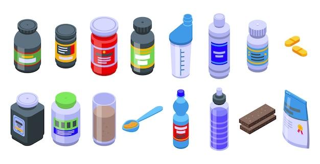 Set di icone di nutrizione sportiva. insieme isometrico delle icone di nutrizione sportiva per il web isolato su priorità bassa bianca