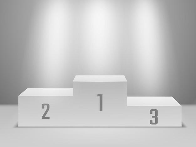 Podio sportivo. piedistallo bianco vuoto dei vincitori con i riflettori. primo, secondo e terzo posto, concetto di competizione vettoriale per la cerimonia di premiazione della vittoria sportiva