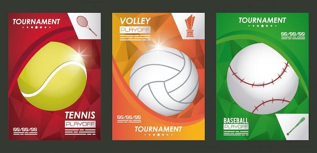 Poster di sport con palloncini set