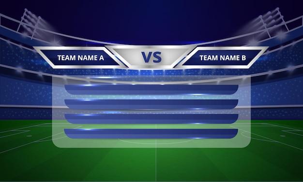 Barre del tabellone sportivo o terzo modello inferiore con barra dei menu della tabella dei punti