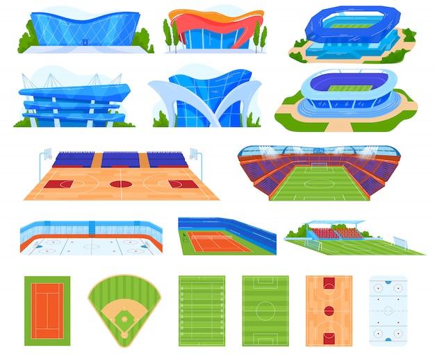 Insieme dell'illustrazione di vettore dello stadio sportivo.