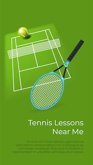 Corsi di tennis sportivo vicino a me, imparando a giocare. attrezzature e corte. campo con rete, palla e racchetta per giocatore. educazione e miglioramento. lezioni e corsi, poster con vettore di informazioni