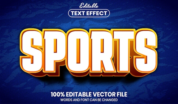 Testo sportivo, effetto testo modificabile in stile carattere