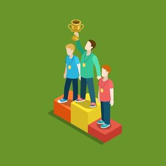 Concetto di vincitore del premio di valutazione del trofeo sportivo piatto web 3d