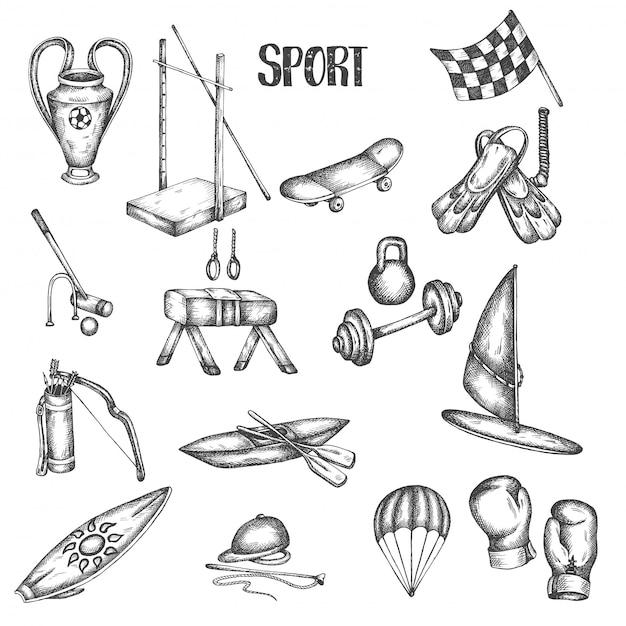 Mette in mostra le illustrazioni disegnate a mano d'annata. set sport e fitness.