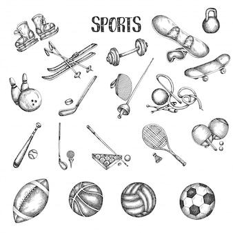 Mette in mostra le illustrazioni di vettore disegnate a mano d'annata. insieme di doodle di sport e fitness.