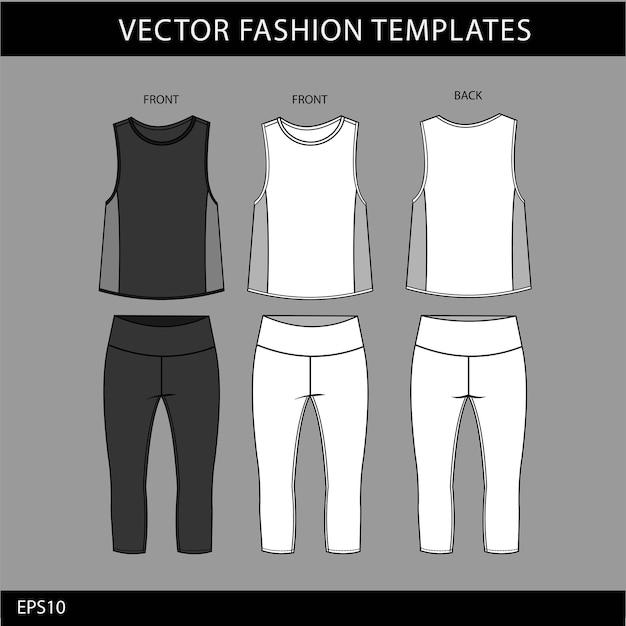 Modello di schizzo piatto moda abbigliamento sportivo, fitness out fit vista anteriore e posteriore.