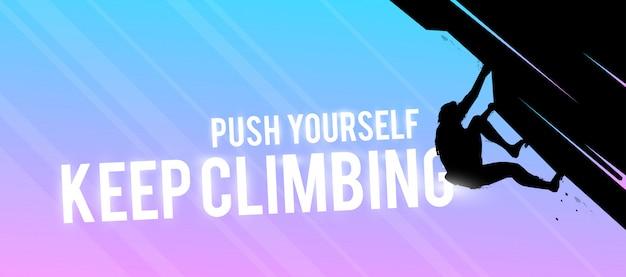 Banner web sportivo. concetto motivazionale. silhouette uomo scalatore.