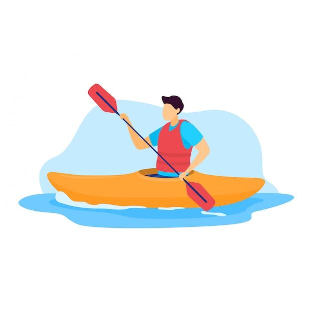 Illustrazione dello sportivo, kayaker del carattere dell'uomo del fumetto che canoa, guidando e remando la canoa della barca su bianco