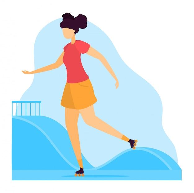 Illustrazione dello sportivo, carattere della giovane donna del fumetto sui pattini di rullo che guidano all'aperto, icona rollerblading su bianco