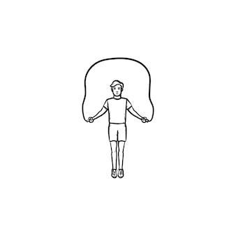 Sportivo che salta sopra l'icona di doodle del contorno disegnato a mano della corda per saltare. allenamento fitness, concetto di esercizi in palestra